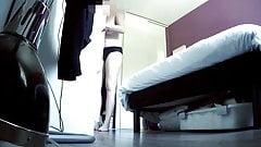 Chubby girl spied in bedroom-hidden cam clip
