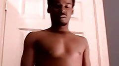 Amateur ebony Jerome shoots jizz after solo masturbation
