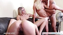 Sweet babe Aaliyah Love fuck in foursome