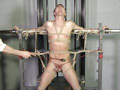 Beautiful Lean Twink Roped Gay Bondage BDSM C&B Torture