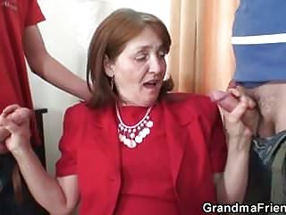 Office granny threesome