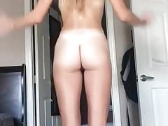 Long-haired babe stripped naked dances for camera Thumbnail