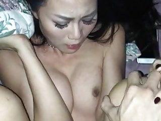 Asian Slut Fucks Boyfriend into Cumming