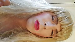 Sissy plays and pouts before eating cum from hand