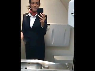 Pantyhose shiney - Real stewardess wanks on flight ii