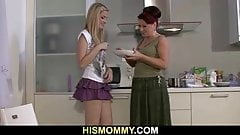 Lesbian mom and teen fucking in the kitchen