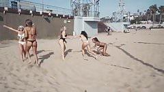 amazing girls playing beach volley