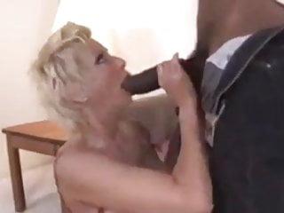 Busty blonde cougar big black cock blowjob titfuck