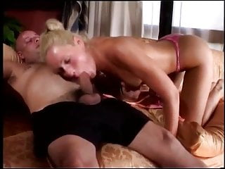 Sexy blond spoils a fat old man