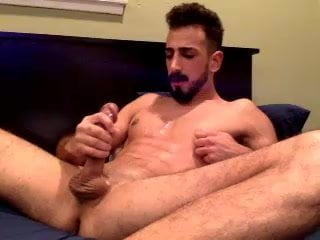 Large Cock Man Edging And Capturing A Huge Load On His Face