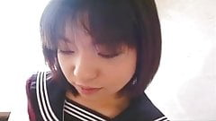 Pretty Japanese schoolgirl cum