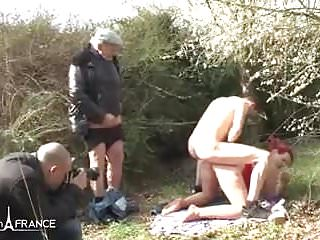 Amateur chubby french redhead analyzed in gangbang outdoor
