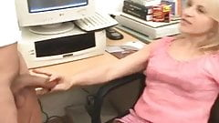 Shemale and girl on heels having sex in the office