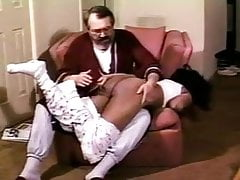Ebony spanked in her PJ's