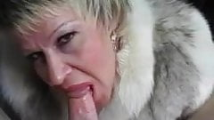Cougar In A Fur Coat Gets Jizzed