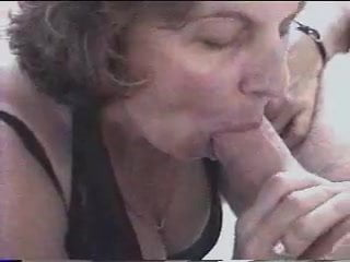 Mature sandie sucks cock and balls