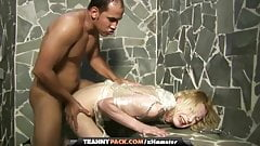 Pale tranny Isabella di Avila gets wrapped and tortured by a