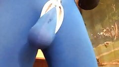 Blue Pouch Long Johns and stretching my balls