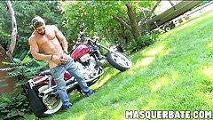 Zack is bearded muscular biker who is jerking off outdoors