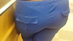 Bubble butt hottie in blue scrubs at Publix