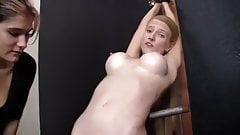 Orgasm control of skinny slave
