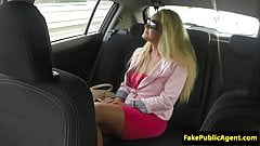 Public euro pussyfucked in cab before cumshot