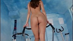 Super hot girl walking on treadmill