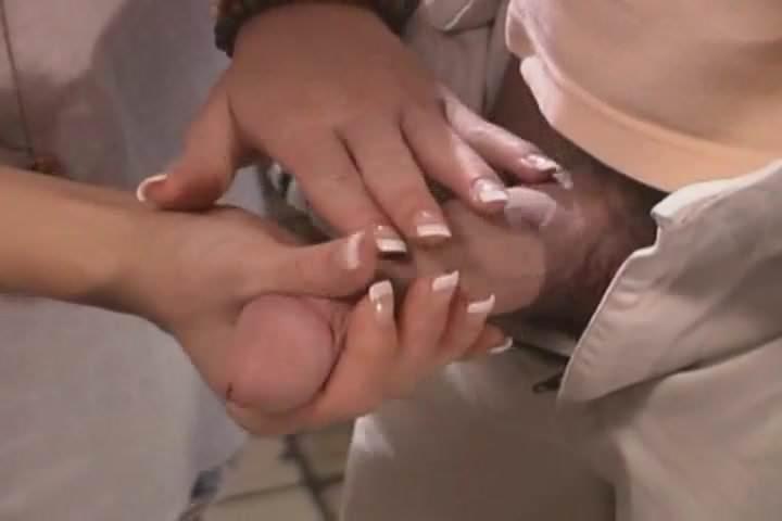 French manicure handjob
