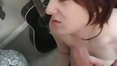 Cute girlfriend on her knees getting a facial