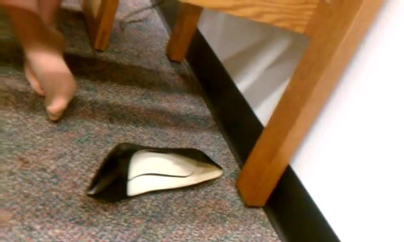 Candid Sexy Nylon Pantyhose Feet in Library part two