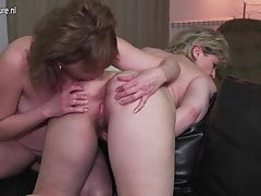 Two mature ass and hairy pussy lesbian lickers