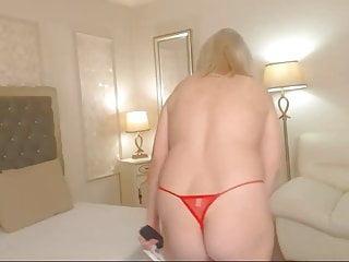 Blonde mature in red
