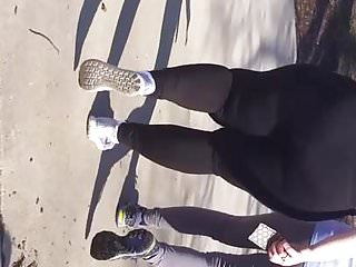 Huge white jiggly bbw MILF booty walking in leggings