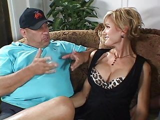 Busty slut wife is fucked by dude in front of her lazy hubby