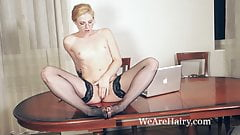 Jadeite White masturbates with a toy in her office