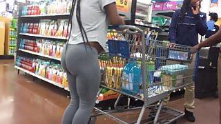 Lil Pregnant Booty VPL in Grey Leggings (Checkout Line)