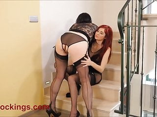 Crotchless panty lesbians in stockings