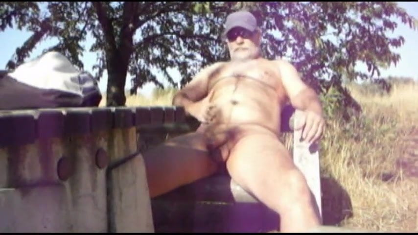 Summer masturbation in public park