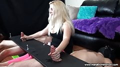 blonde has her way with 2 cocks during femdom handjob