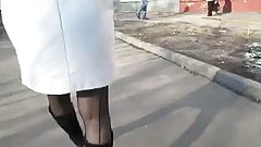 Girl in seamed stockings outdoor
