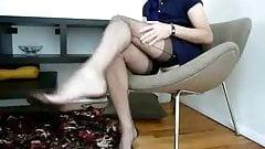Black full fashion stocking foot tease