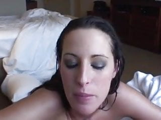 Horny girl finish off guy after shower