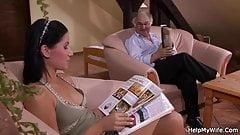 European brunette girl cuckolds old husband