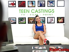 Doggystyled teen chokes on cock at casting