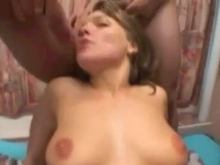 Lots of cum for French babe in gangbang.
