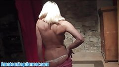 Hot blonde with hard nipples lapdances