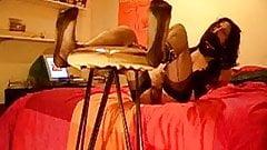 Tranny waits for stocking foot punishment