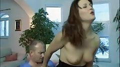 Hot brunete first anal in red stockings