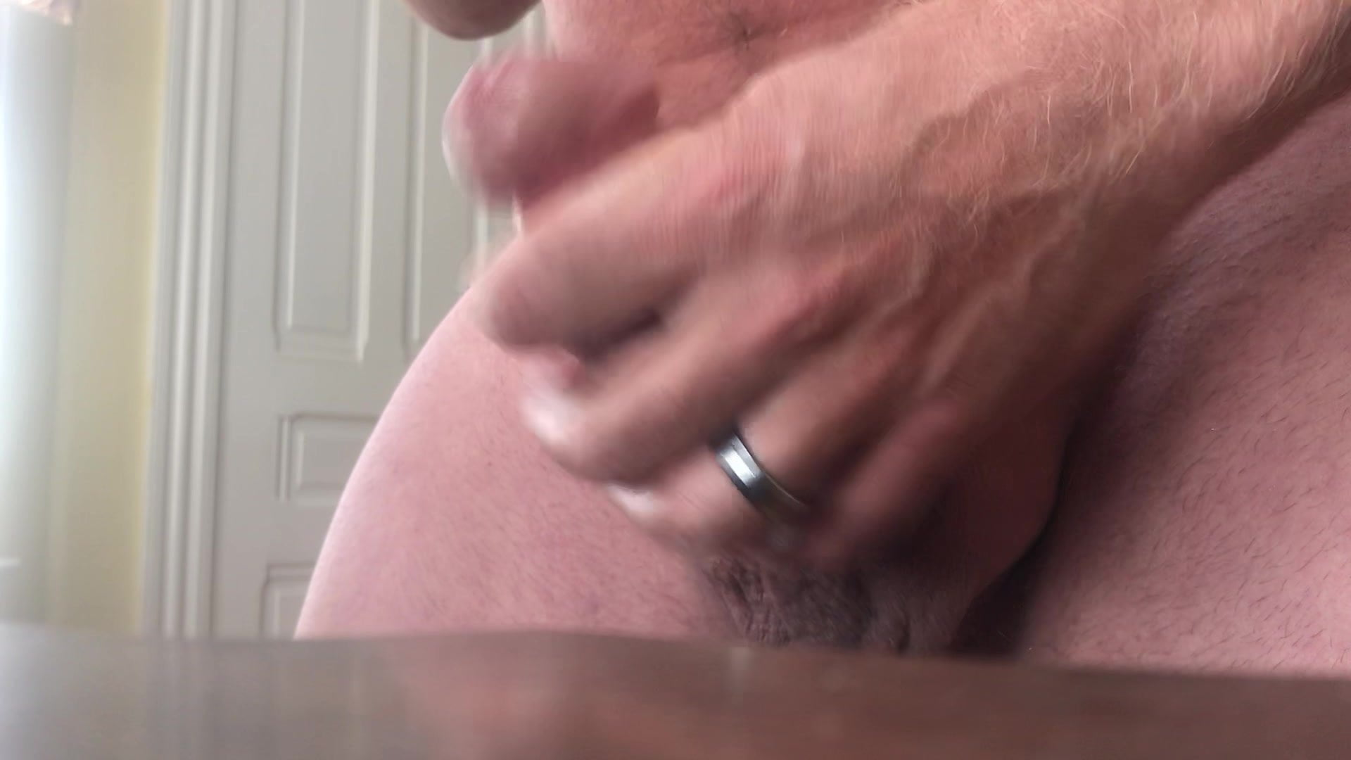 Jerking my cock for cum with therapeutic massage oil