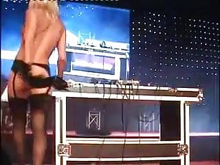 Sexy Blonde Djane Public Nude Dj Set